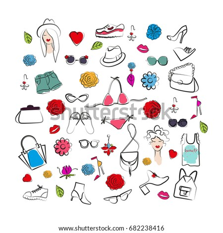 Hand drawn set of woman accessories. Vector sketch illustration. #682238416