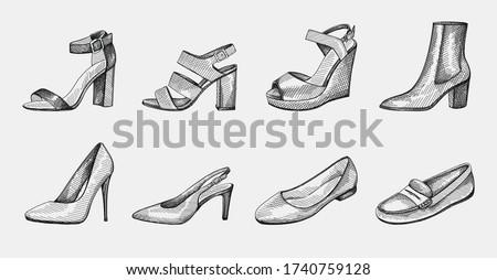 Hand-drawn set of women shoes. Block Heels, Ankle Booties on medium heel, Ballerina flats, Pumps, stiletto, Open Toe Sandals, Slingback medium heel, Wedge Sandals, Loafers, slippers, moccasins. Stockfoto ©