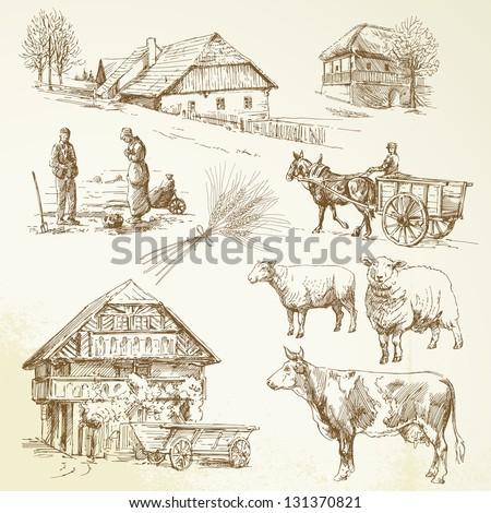 African Village Drawing Hand Drawn Set Rural
