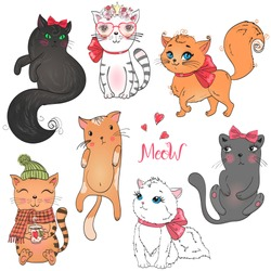 Hand drawn set with beautiful cute little cat on the background with inscription Meow. Vector illustration.