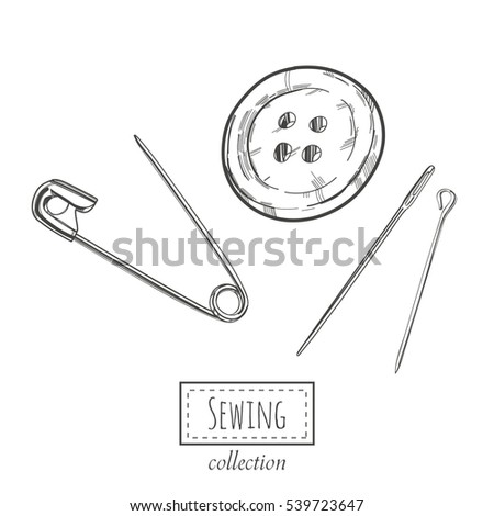 Hand drawn sewing elements: button, needles and pins. Vector template.