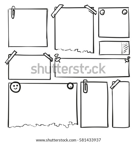 Hand drawn sheets of paper. Cartoon vector square borders. Pencil effect shapes isolated.