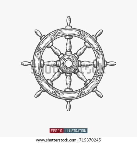 hand drawn ship wheel. template ...