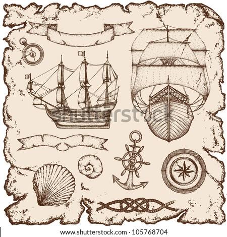 Hand-drawn ships