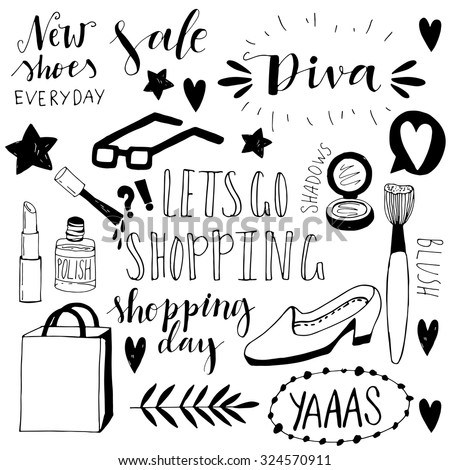 hand drawn shopping doodle