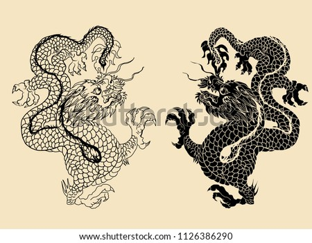 Hand drawn Silhouette dragon.Chinese dragon tattoo.Black and white Traditional Japanese dragon.