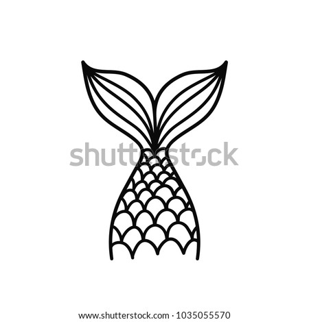 Hand drawn silhouette of mermaid's tail. Vector illustration isolated on white background. Graphic tattoo.