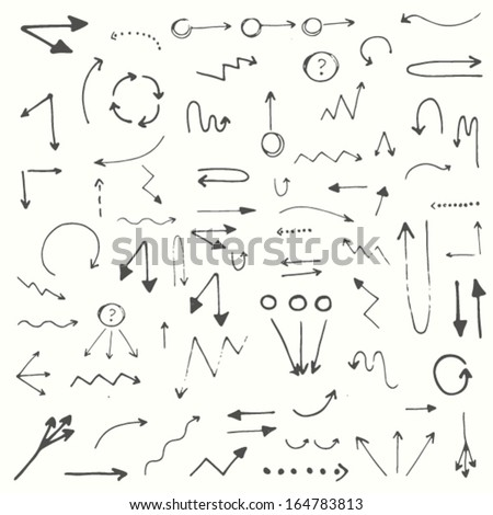 Hand drawn simple arrows set made in vector