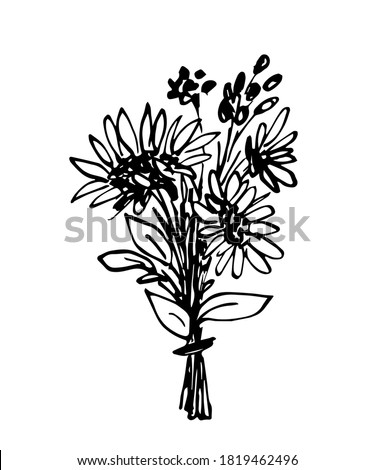 Hand drawn simple floral vector drawing in black outline. Cute beautiful autumn summer bouquet with berries, sunflowers. For festive seasonal design, postcards, invitations. ストックフォト ©