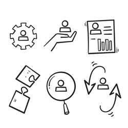 hand drawn Simple Set of Business Management Related Vector Line Icons in doodle style isolated