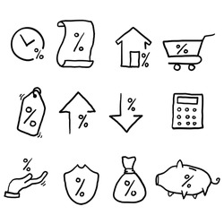 hand drawn Simple Set of Loan Related Vector Line Icons.Interest Rate, Investment Plan, Percentage Diagram symbol doodle style
