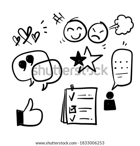 hand drawn Simple Set of Testimonials Related Vector Line Icons. in doodle style vectors sketch Photo stock ©