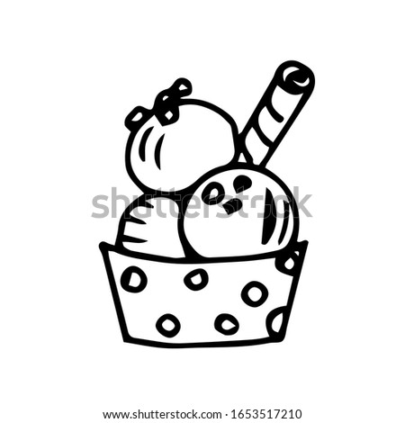 Hand-drawn simple sketch with black outline, vector drawing. Balls of ice cream with sprinkles, a sweet straw, in a cup of polka dots. Summer dessert, cafe, menu.