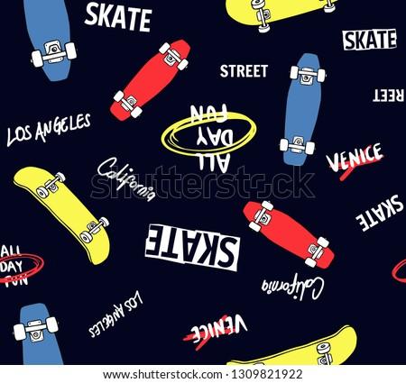 Hand drawn skateboarding elements seamless pattern. Skate background. Skateboarding doodle illustration. Vector illustration. Seamless pattern with cartoon skateboards, slogans.