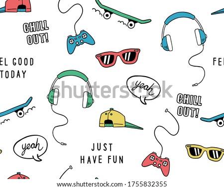 Hand drawn skateboarding elements seamless pattern. Skate background. Skateboarding doodle illustration. Vector illustration. Seamless pattern with sunglasses, skateboard, hat etc.