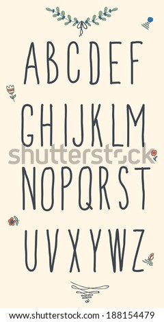 Hand drawn sketch alphabet. Handwritten font. Isolated in white background. Letters, uppercase