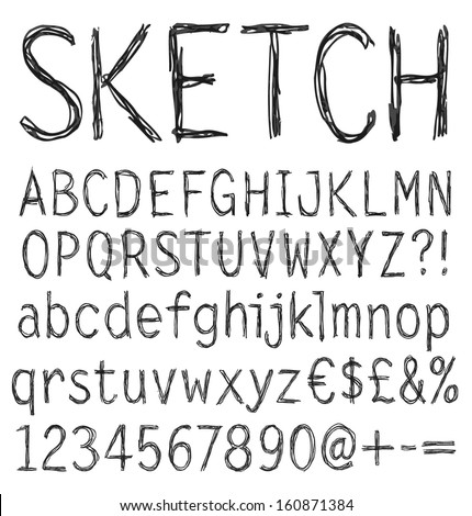 Hand drawn sketch alphabet. Vector illustration.