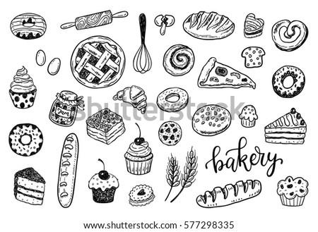 hand drawn sketch bakery set