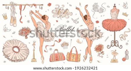Hand drawn sketch ballet set. Vector illustration of ballerina, ballet shoes and dress Foto stock ©
