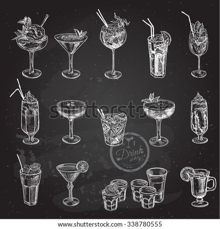 Hand drawn sketch big set of alcoholic cocktails. Vector illustration. Chalkboard background.