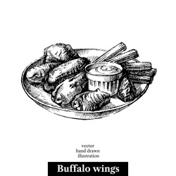 Hand drawn sketch buffalo chicken wings. Vector black and white vintage illustration. Isolated object on white background. Menu design
