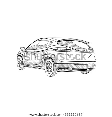 hand drawn sketch car abstract