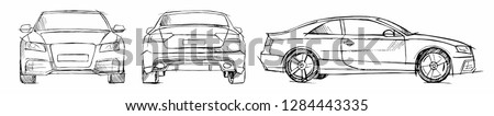 hand drawn sketch car vector