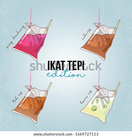 Hand drawn sketch doodle of Ikat Tepi Edition. Malaysian tapau drinks with ikat tepi. Syrup bandung Iced Milo Ais Teh Ais Iced Tea and Limau Ais or Iced Lime juice. Truly Malaysian drinks.
