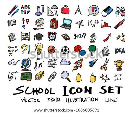 70f4346f14d6 Hand drawn Sketch doodle vector line School element colour icon set on white