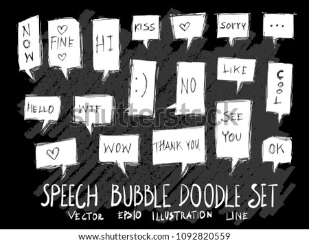 Hand drawn Sketch doodle vector speech bubble element icon set on Chalkboard