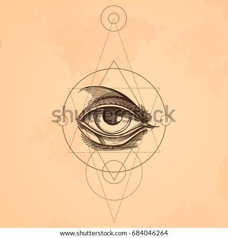 hand drawn sketch eye of