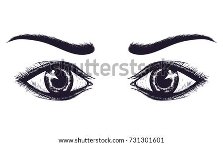 hand drawn sketch eyes of woman