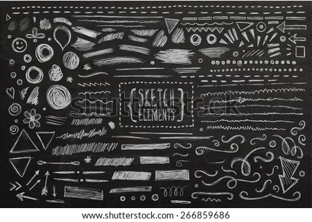 stock-vector-hand-drawn-sketch-hand-drawn-elements-vector-chalkboard-illustration