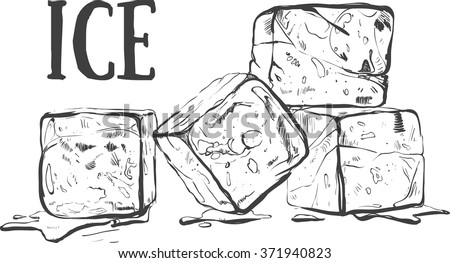Hand drawn sketch ice cube. Eco food. Vector illustration.  ice cube, on the white background. Organic illustration
