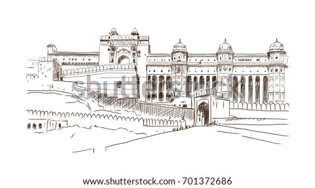 Hand drawn sketch illustration landmark of Amber Fort, Jaipur, India.