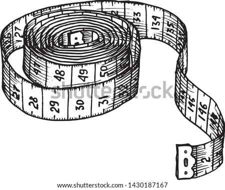hand drawn, sketch illustration of measuring tape. system of measurement in centimeters
