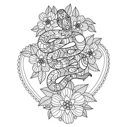 Hand drawn sketch illustration of snake and flowers for adult coloring book, T-shirt emblem, logo or tattoo, zentangle design elements. Zentangle stylized cartoon isolated on white background.
