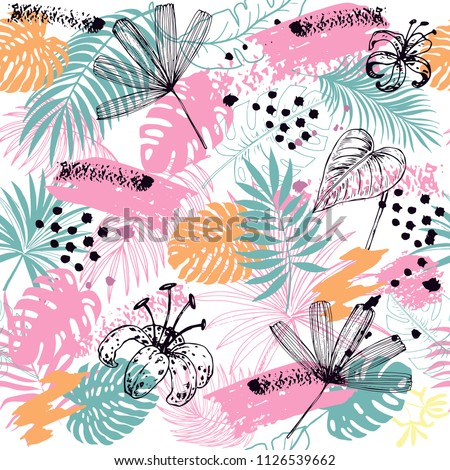 Hand drawn sketch illustration tropical leaves pink and blue leaves seamless pattern on a white background