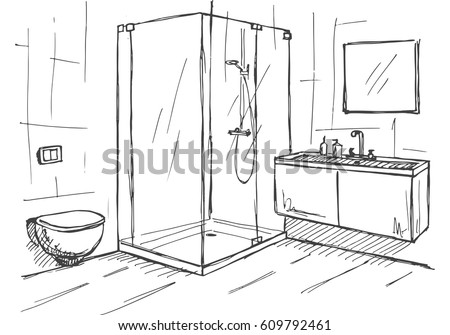 Hand Drawn Sketch Linear Of An Interior Part The Bathroom Vector