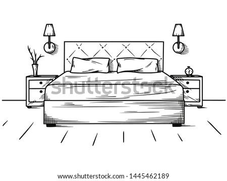 Hand drawn sketch. Linear sketch of an interior. Sketch Line bedrooms. Vector illustration. Room plan.