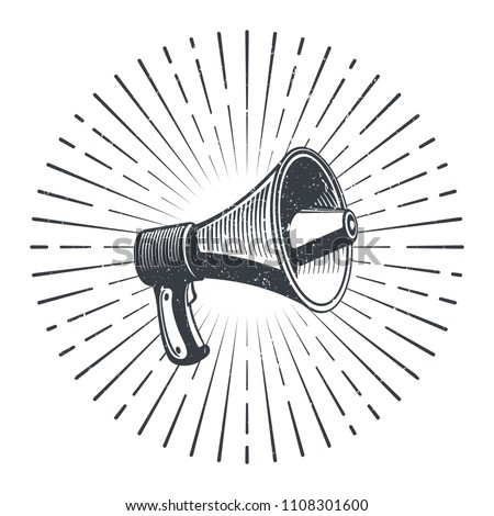 Hand drawn sketch megaphone and starburst. Vintage poster with megaphone. Vector illustration