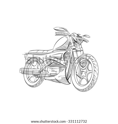 Stock Photo Hand drawn sketch motorbike abstract vector design concept