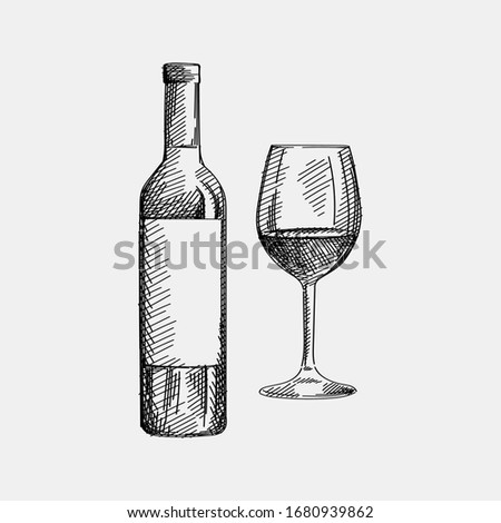 Hand-drawn sketch of a bottle of whine with a glass of wine on a white background. Bottle of red, white, pink wine. Wine glass. Bottle of wine for a picnic