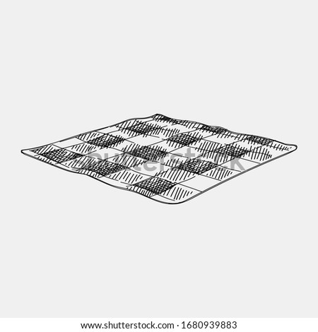 Hand-drawn sketch of a Checkered Picnic Blanket for picnic on a white background.  Plaid Outdoor Picnic Blanket for picnic on a white background.