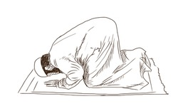 Hand drawn sketch of a Muslim man praying in vector illustration.