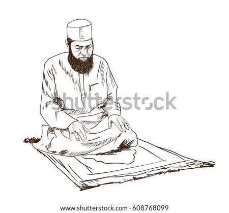 hand drawn sketch of a muslim