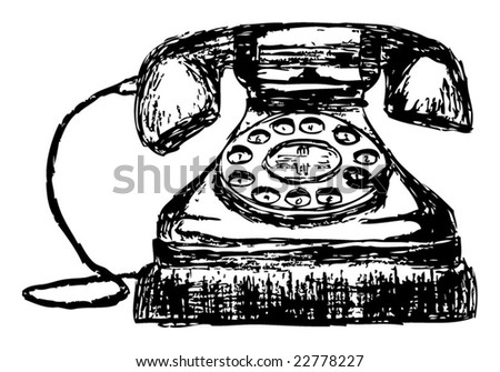 Hand Drawn Sketch Of An Old Vintage Telephone