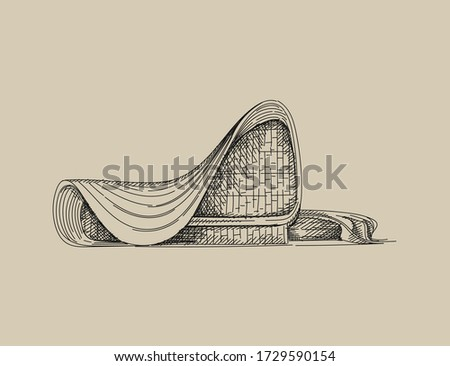 Hand drawn sketch of architectural landmark - Heydar Aliyev Center, Azerbaijan, Baku
