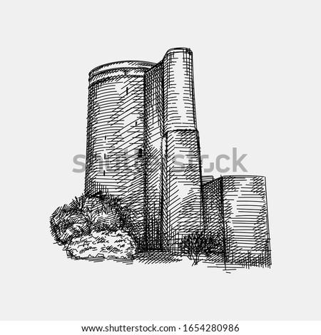 Hand drawn sketch of Azerbaijan national architectural landmark - Maiden Tower (Qiz qalasi)