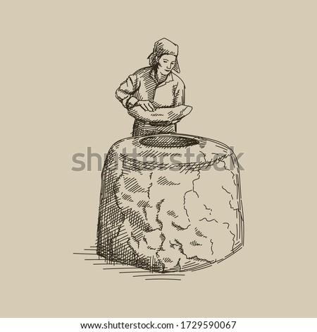 Hand drawn sketch of azeri woman making tandir bread, pita or pide bread dough. A woman putting tandir bread into the stone oven